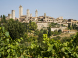 Towers of San Gimignano with Grapevines Producing Vernaccia Di San Gimignano Wine in Foreground Photographic Print by Olivier Cirendini