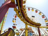 Amusement Rides at Pacific Park, Santa Monica Pier Photographic Print by Lou Jones