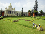 Workers on Lawn Outside the Vidhana Soudha, Which Houses the State Legislature Photographic Print by Brian Cruickshank