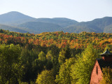 House in Style of Traditional Barn in the Adirondacks in Autumn Photographic Print by Peter Ptschelinzew