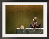 United Nations Secretary General Kofi Annan Listens to Statements Made by Members Framed Photographic Print by Julie Jacobson