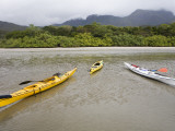 Kayaks at Low Tide in Zoe Bay Photographic Print by Andrew Bain