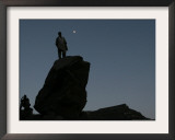 An Afghan Man Stands on a Huge Rock Next to the Now Abad Dinazung Monument Framed Photographic Print by Rodrigo Abd