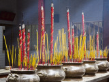 Incense Sticks in Pots Burning in Cantonese Thien Hau Pagoda on 710 Nguyen Trai Street in Cholon Photographic Print by Anders Blomqvist