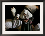 Muslim Women Worshippers Pray Inside the Golden Dome of the Rock Framed Photographic Print