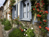 Roses and Flowers and Half-Timbered Houses Along Rue Du Logis Du Roy Photographic Print by Barbara Van Zanten