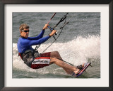 Democratic Presidential Candidate Sen. John Kerry, D-Mass., Kite Surfs Framed Photographic Print