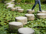 Man Crossing Stepping Stones across Soryu-Ike Pond in Naka Shin'En Garden Photographic Print by Rachel Lewis