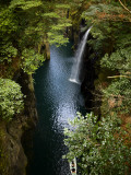 Row Boat and Waterfall in Takachiho Gorge Photographic Print by Shayne Hill