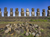 Moai Statues at Ahu Tongariki Photographic Print by Manfred Gottschalk