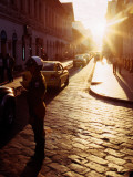 Cobbled Street of Old Town at Sunset Photographic Print by Ryan Fox