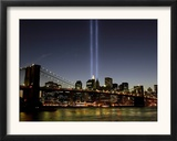 The Tribute of Light Memorial Shines into the Sky Over the Night Skyline of New York City Framed Photographic Print