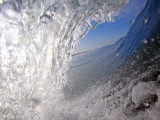 Surfer's Perspective Looking Out Barrel of Wave, at Popular Surfing Beach Playa Aserradores Lmina fotogrfica por Paul Kennedy