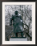 Snow is Seen on a Statue of the Late British Prime Minister Sir Winston Churchill Framed Photographic Print by Matt Dunham