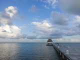 San Pedro Beach Dock, Looking Out Towards Caribbean Sea Photographic Print by Sean Caffrey