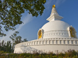 Nipponzan Myohoji Stupa, on Top of Ratnagiri Hill, with Four Golden Statues of Buddha Photographic Print by Tim Makins