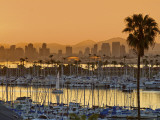 Yachts across San Diego Bay at Sunrise, Looking Towards Downtown Fotografie-Druck von Witold Skrypczak