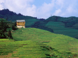 Hotel Overlooking the Dragon's Backbone Rice Terraces Near Longsheng Photographic Print by Richard l'Anson