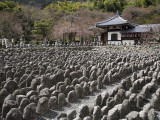 Weathered Stone Mounds Sitting in Memorial in Grounds of Adashino Nembutsu-Ji Temple Photographic Print by Brent Winebrenner