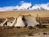 Drokpa (Nomad) Tents in Front of Mt Shishapangma on Road from Saga to Nyalam Photographic Print by Bradley Mayhew