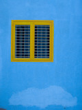 Yellow Window on Blue Wall Fotografie-Druck von Stephane Victor