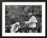 Mother Teresa Ascends the Podium to Stand Side by Side with Pope John Paul II Framed Photographic Print