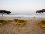 Beach Chairs at Calengute Beach, North of Panaji Photographic Print by Orien Harvey