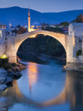 Stari Most or Old Bridge over Neretva River at Dusk Photographic Print by Richard l'Anson