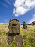 Moai Heads on Inner Crater Slopes of Rano Raraku Photographic Print by Manfred Gottschalk