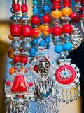 Colourful Tibetan Costume Jewellry for Sale on Darjeeling Mall Photographic Print by Tim Makins
