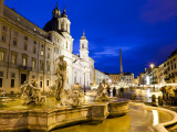 Fontana Del Moro and Church of Sant'Agnese in Agone at Piazza Navona Fotografie-Druck von Richard l'Anson