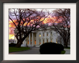 The Early Morning Sunrise Warms up the Winter Sky Behind the White House January 10, 2002 Framed Photographic Print by Ron Edmonds