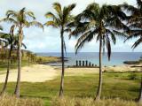 Anakina Beach and Moai Statues of Ahu Nau Nau Fotografisk tryk af Paul Kennedy