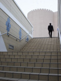 Businessman Ascending Staircase Photographic Print by Brent Winebrenner