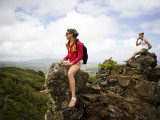 Girls on Rocks on Nounou Mountain Hiking Trai Photographic Print by Micah Wright