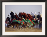 Tunisian Men Ride Their Arab Stallions During a Race the 36th Sahara Festival of Douz Framed Photographic Print