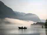 Two Fishermen in Boat on Lake Bohinj (Bohinjsko Jezero) Papier Photo par Ruth Eastham & Max Paoli