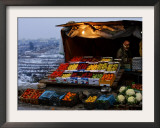 A Palestinian Fruit and Vegetable Vendor Waits for Customers Framed Photographic Print by Kevin Frayer