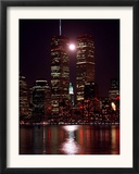 A Full Moon Rises Between New York's Twin Towers for the Second Time This Month Framed Photographic Print