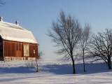 Typical Red Barn in Rural Wisconsin in Winter Photographic Print by Peter Ptschelinzew