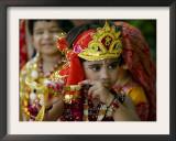 A Child Enacts the Life of Hindu God Krishna During Janamashtami Celebrations Framed Photographic Print