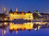 Historic Building Reflected in Main River at Dusk Photographic Print by Richard l'Anson