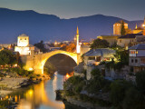 Stari Most or Old Bridge over Neretva River at Dusk Photographic Print by Richard l&#39;Anson