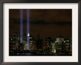 The Towers of Light Shine Over the Manhatten Skyline Framed Photographic Print