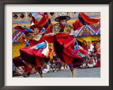 Monks Perform a Black Hat Dance Framed Photographic Print