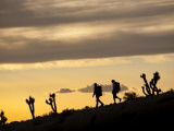Young Man and Woman Hiking Through Desert at Sunset Photographic Print by Tyler Roemer