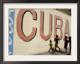 Cuban Girls Run in a Street in Havana, Cuba, Thursday, August 10, 2006 Framed Photographic Print by Javier Galeano