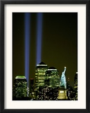Two Beams of Light Light up the Sky Above Manhattan from Near the Site of the World Trade Center Framed Photographic Print