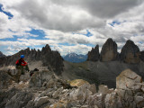 Climber on &quot;Cima Dei Scarperi&quot; Peak Looking Out to Paterno Peaks Photographic Print by Ruth Eastham &amp; Max Paoli