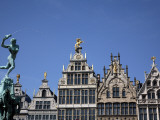 Statue of Brabo Fountain in Grote Markt (Town Square) with Guilds Houses in Background Photographic Print by Bruce Bi